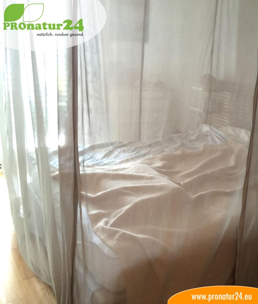 baldachin elektrosmog pro in silberbeige zum schutz vor wlan funk strom und m cken. Black Bedroom Furniture Sets. Home Design Ideas