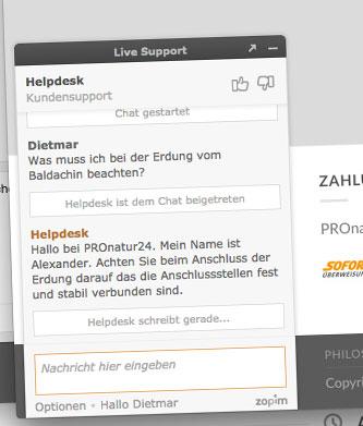 Live Chat und Service Startseite