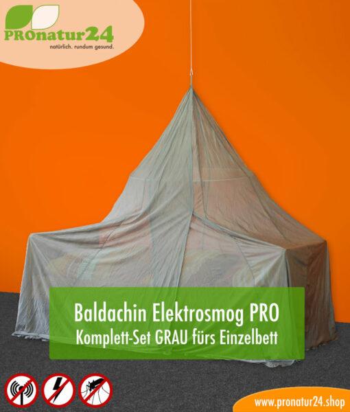 Baldachin SET Elektrosmog PRO in Grau fürs Einzelbett Pyramidenform