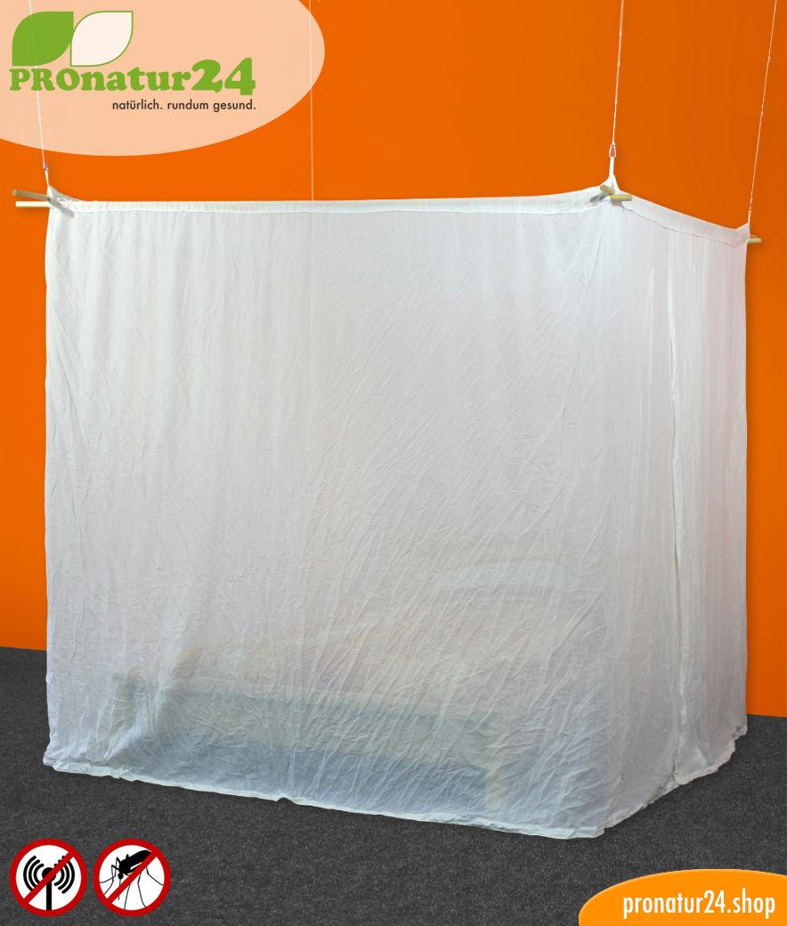 baldachin elektrosmog funk schutz vor wlan handystrahlung m cken moskitonetz pronatur24 shop. Black Bedroom Furniture Sets. Home Design Ideas