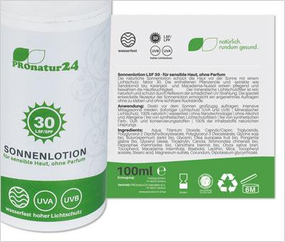 PROnatur24 Sonnencreme LSF 30, für empfindliche Haut, ohne Parfum
