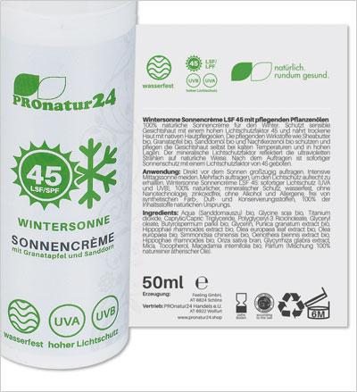 PROnatur24 Sonnencreme LSF 45, speziell für den Winter