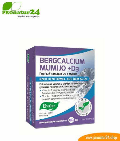 Bergcalcium Mumijo + D3 von Evalar. Glutenfrei, gentechnikfrei und vegan.