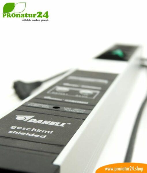 Geschirmte PC Steckdosenleiste SCHWEIZ mit Vollschutz-Filtersystem, 6-fach (4+2) - filtert auch HF bis 80 MHz (PLC Powerline)