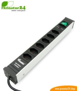 Geschirmte Steckdosenleiste SCHWEIZ mit Ein-/Aus Schalter, 6-fach